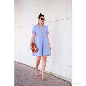 Madewell Short Sleeve Swingout Shirt Dress in Blue